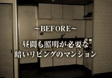 昼間も照明が必要な暗いリビングのマンション